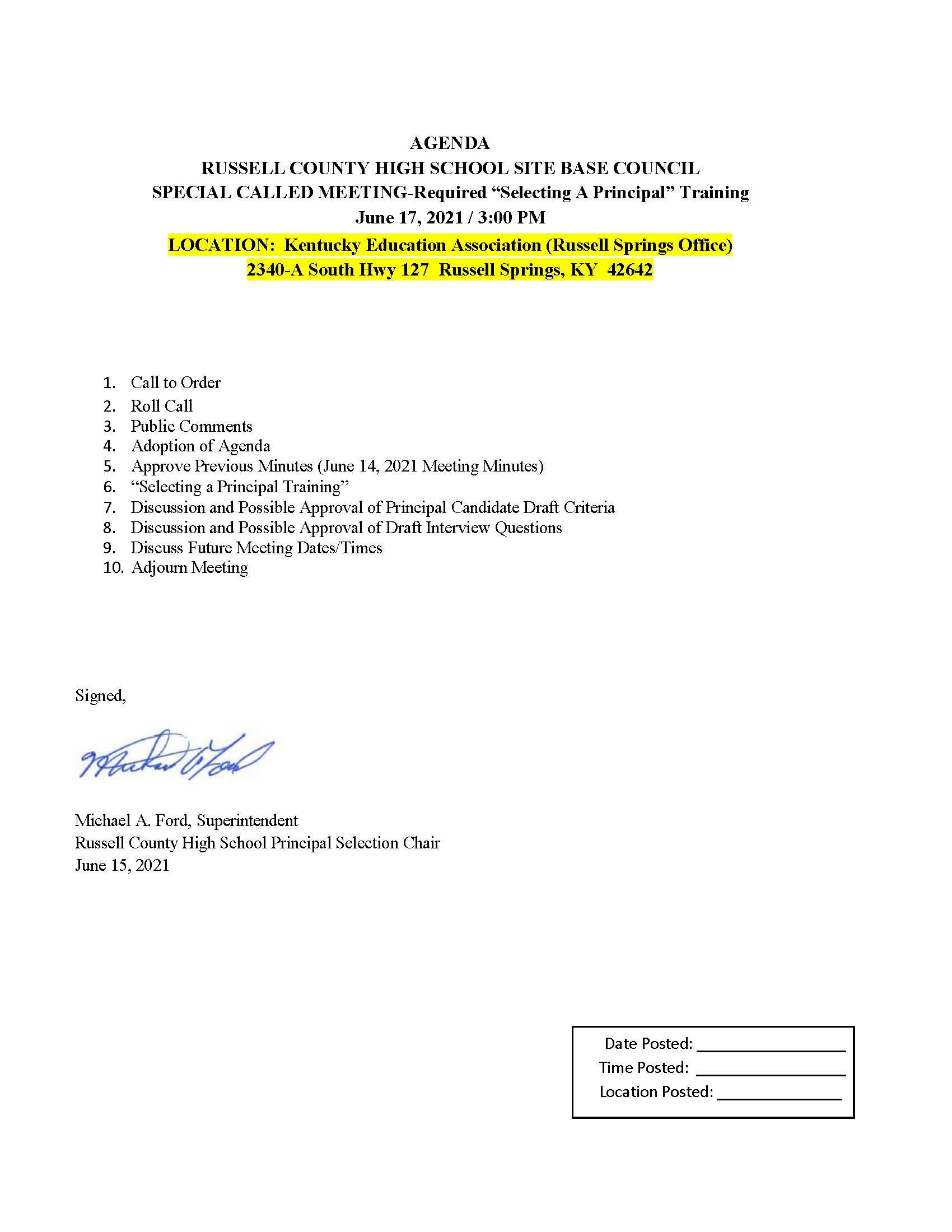 June 17 RCHS SBDM meeting